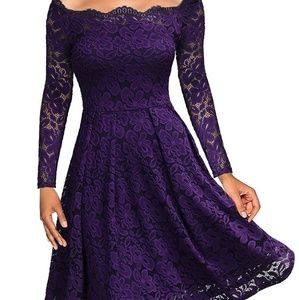 Miss May purple lined lace swing dress NWT
